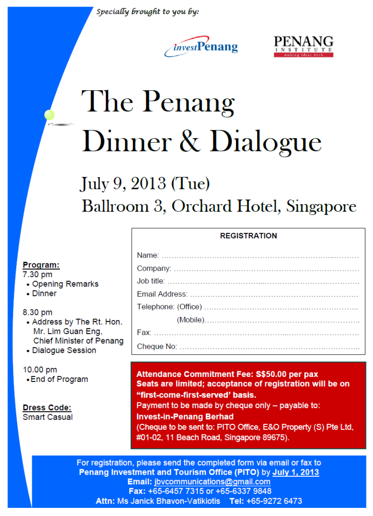 The Penang Dinner & Dialogue