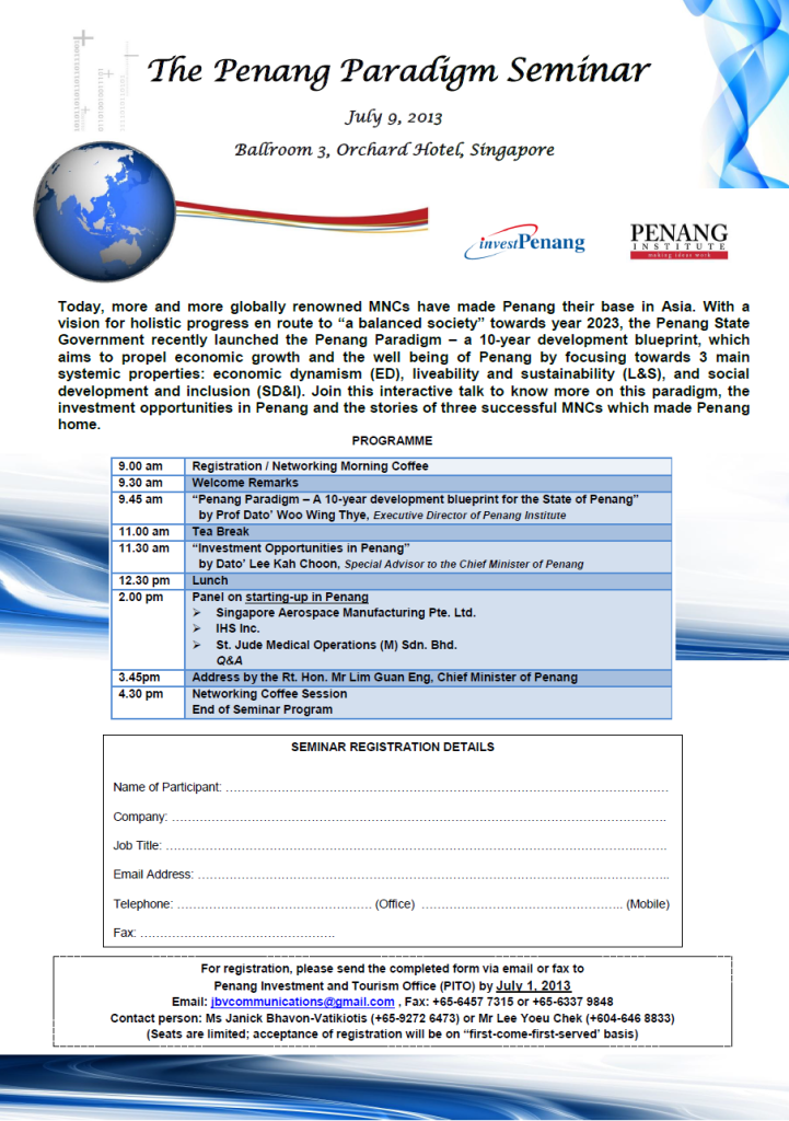 The Penang Paradigm Seminar